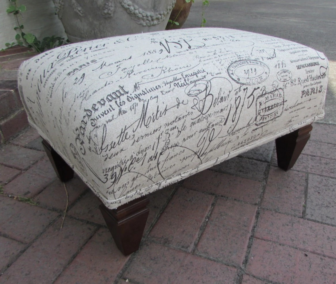 French Script Chair French Ottoman Revenge Chair Script Fabric