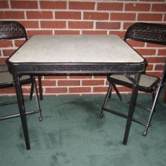 Black Folding Table And Chairs Set Upholstered With Casters Vintage Mid Century Modern Fabulous Child Size Metal