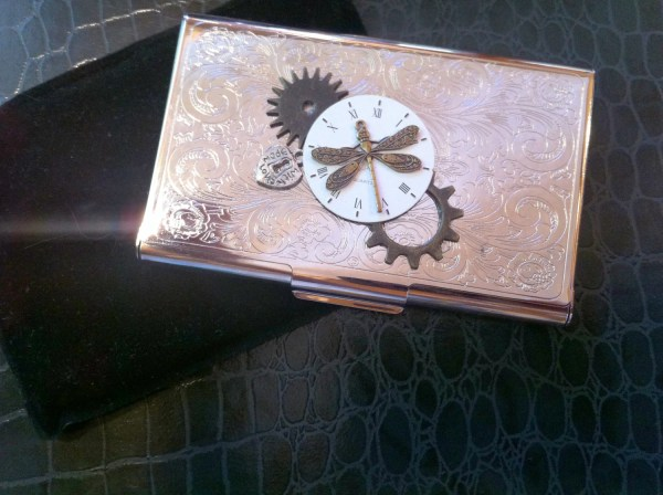 Steampunk Business Card Holder Dragonfly Moon Time Laurijon