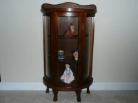 Small Wood and Curved Glass Table Top Curio Cabinet