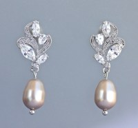 Champagne Pearl Earrings, Crystal & Pearl Drop Earrings