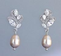 Champagne Pearl Earrings, Crystal & Pearl Drop Earrings ...