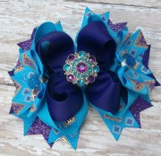 purple and blue hair bow dressy
