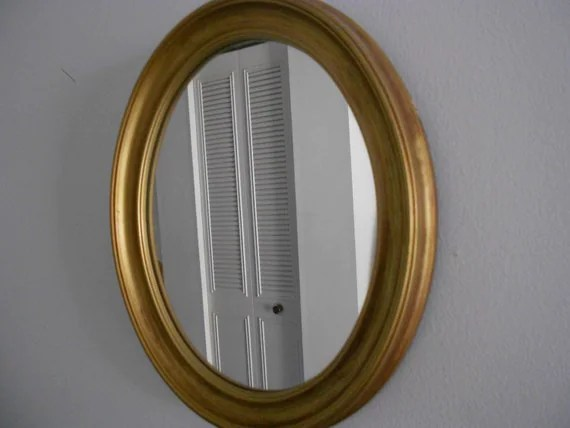Gold Metal Oval Mirror Wall Hanging