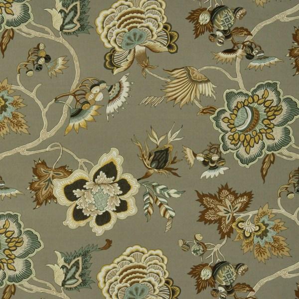 Taupe Floral Cotton Upholstery Fabric Sage Popdecorfabrics