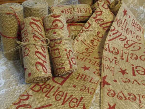 Burlap Ribbon 5in. Wide Red Christmas