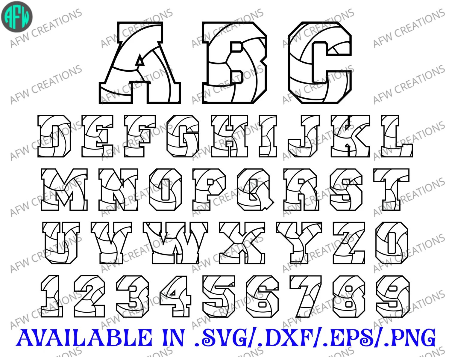 Volleyball Letters & Numbers SVG DXF EPS by AFWifeCreations