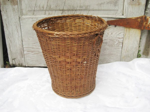 Vintage Wicker Waste Trash Small Woven