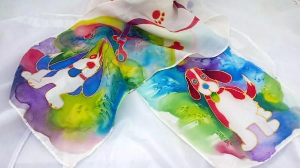 "Hound Silk scarf. 8"" x 54"" custom silk scarf with adorable beagle dogs hand drawn by artist M Theresa Brown. Canine paw prints, colorful"