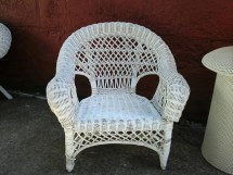 Vintage Child' Wicker Chair. Small White