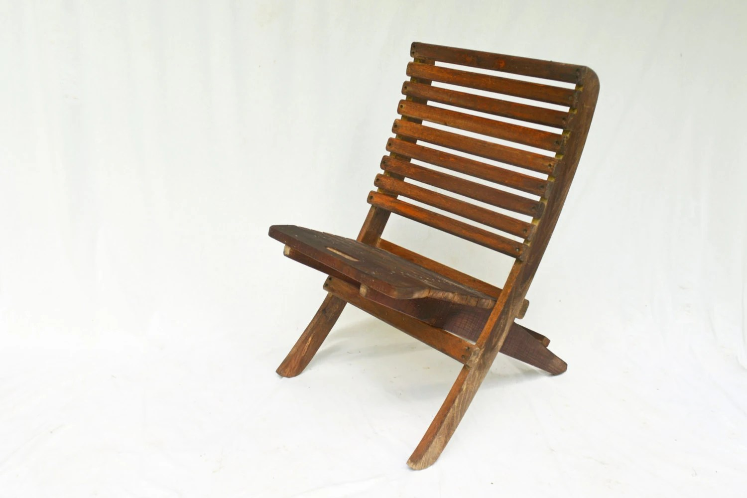 Folding Wood Beach Chair Vintage Outdoor Chairs 2 Wooden Folding Chairs By