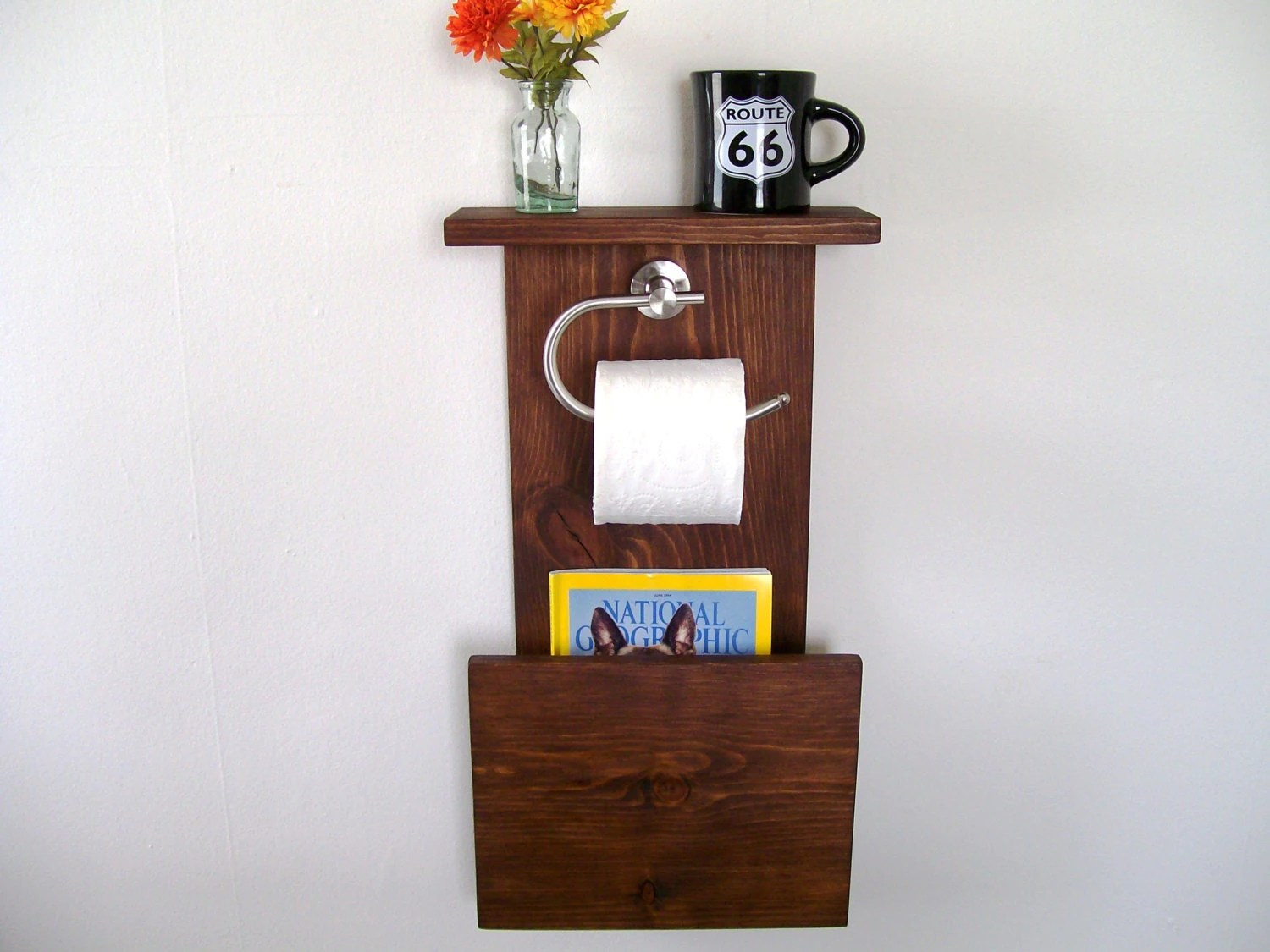 Magazine Rack Toilet Paper Holder Bathroom Shelf by