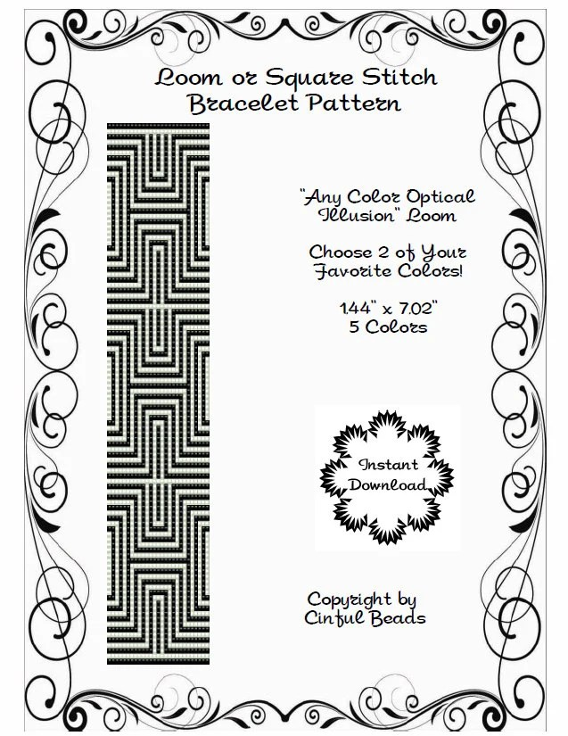 Loom or Square Stitch Pattern Optical Illusion Any Color
