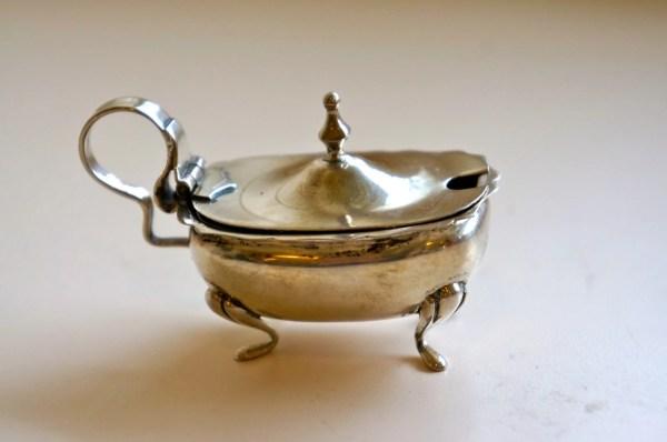 Continental Silver Salt Cellar Lidded With Glass