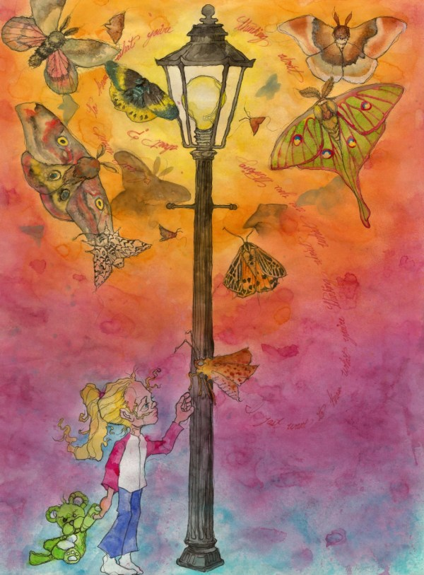 Moth Watercolor Art Butterfly Wings Whimsical Painting