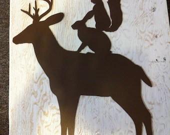 deer totem metal wall