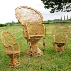 Fan Back Wicker Chair Dorm Chairs For Guys 3 Vintage Rattan Peacock High Childs Doll