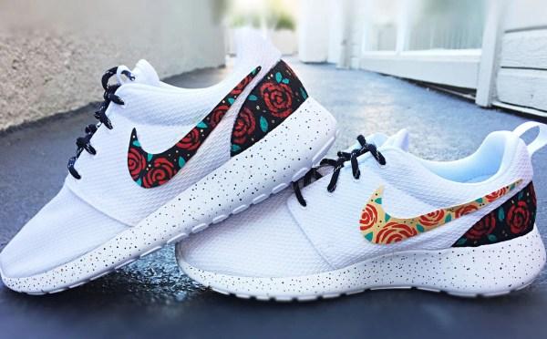Floral Custom Nike Roshe Run Rose Design Gold