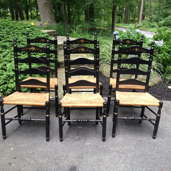 6 Vintage Hitchcock Reproduction Ladder Chairs