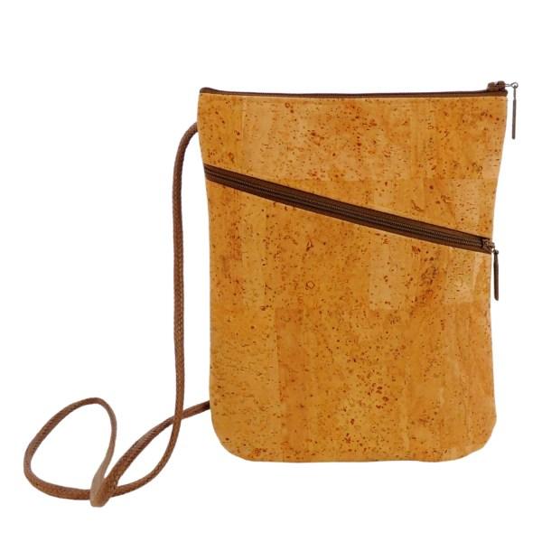 Cork Purse Tan Crossbody Bag Zip Top Shoulder