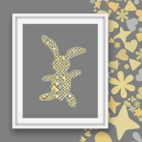 Girls nursery wall art Rabbit art by PrintableChangeable
