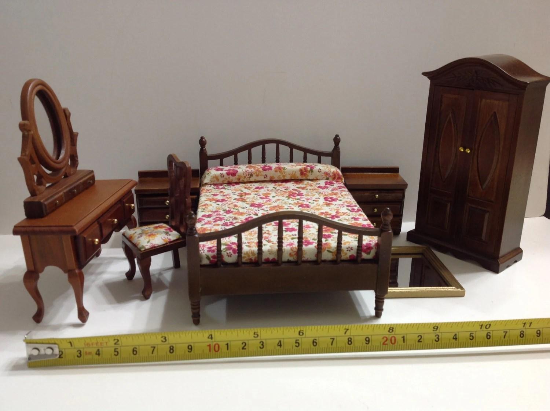 Dollhouse Miniature Wood Bedroom Furniture Set