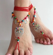 Hippie Owl Barefoot Sandals Red Crochet