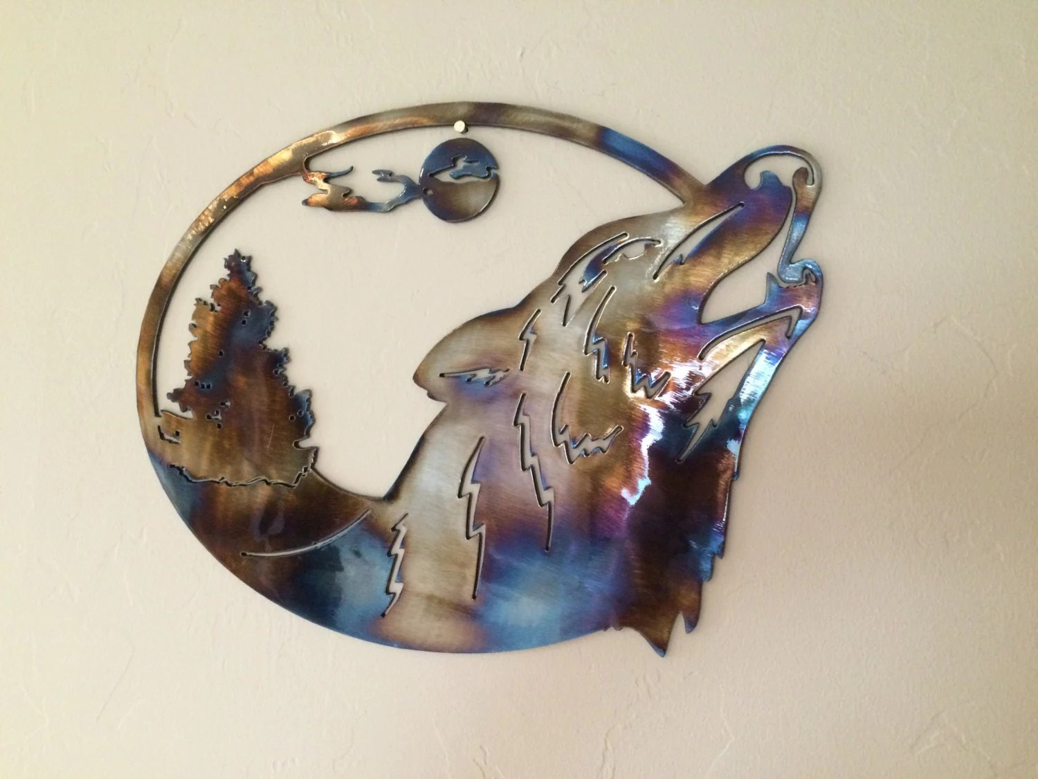 Wolf Scene Torched Metal Wall Art Decor