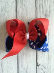 large 4th of july hair bow handmade