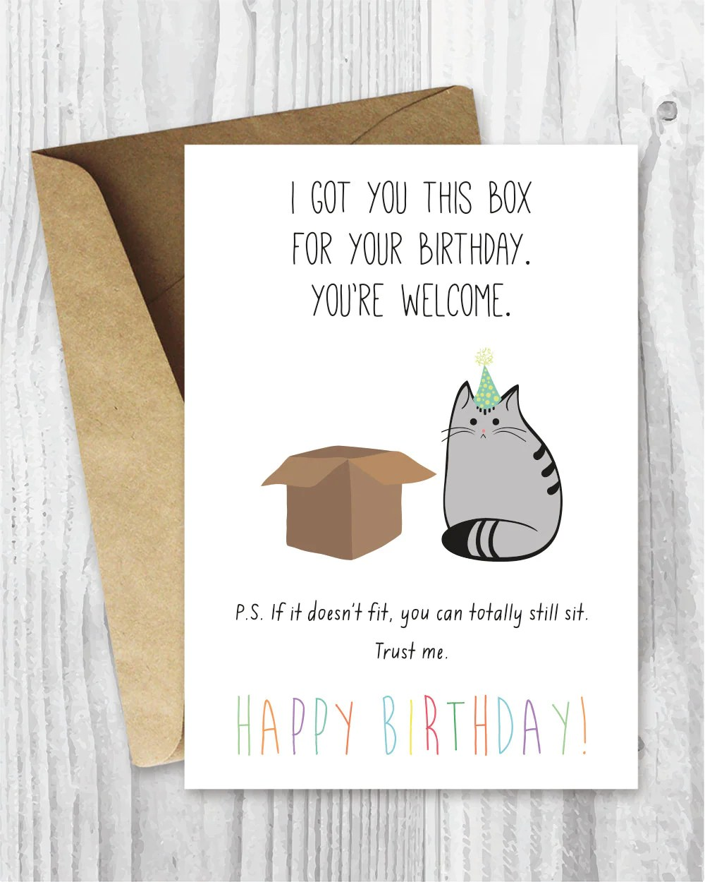 Birthday Card Printable Happy Birthday Cat Digital Card