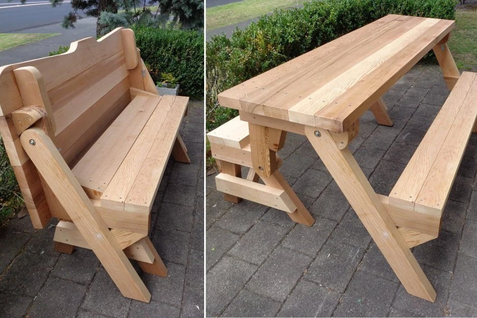 One Piece Folding Bench And Picnic Table Plans