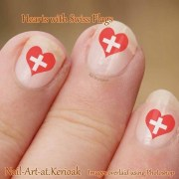 swiss flag heart shaped nail art