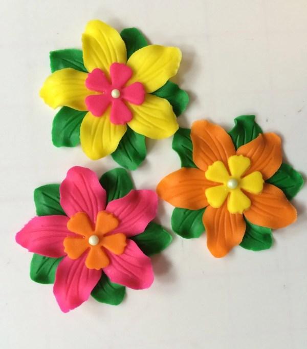 Edible Fondant Flowers 12pcs 2.5 Luau Cupcake Toppers