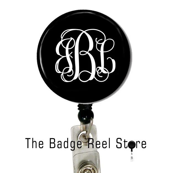 monogrammed retractable badge holder
