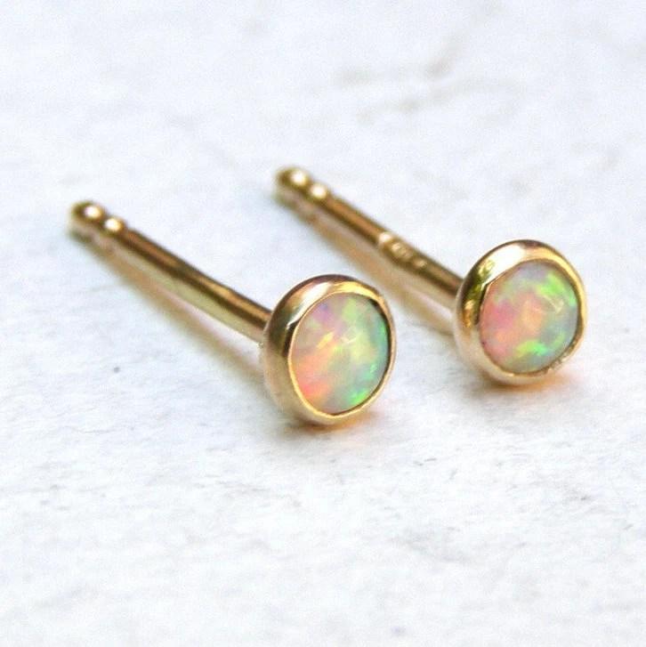 Opal stud Earrings fine gold Stud earrings 14k solid Gold