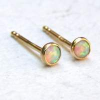 Opal stud Earrings fine gold Stud earrings 14k solid Gold