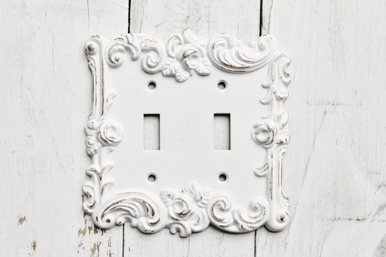 Distressed Metal Wall Decor Double Light Switch Cover White