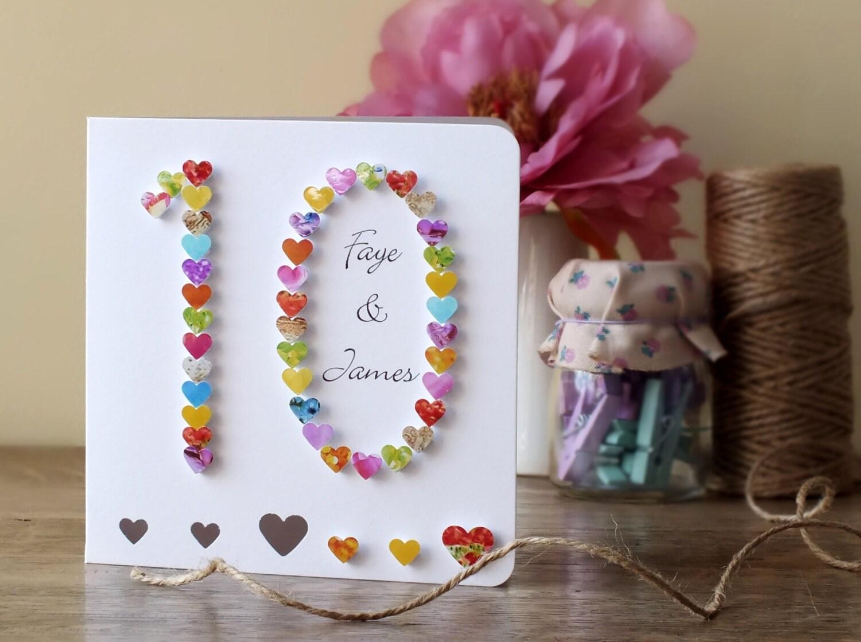 Handmade 3D 10th Wedding Anniversary Card by CardsbyGaynor on Etsy