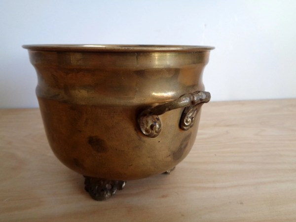 Vintage Solid Brass Flower Pot With Handles And Feet