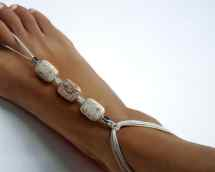 White Turquoise Bridal Barefoot Sandals Boho Beach Wedding