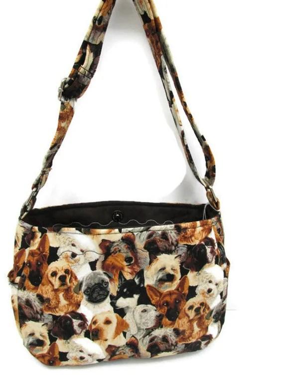 Dogs Handbag Black Brown Dog Purse Cross Body by