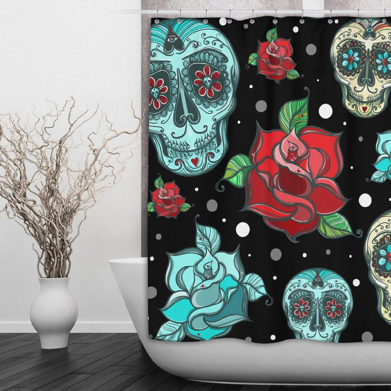 Turquoise Sugar Skull Shower Curtain Dia de Meurtos by InkandRags