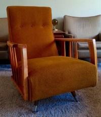 Mid-Century Modern High Back Swivel Rocker Chair No Shipping