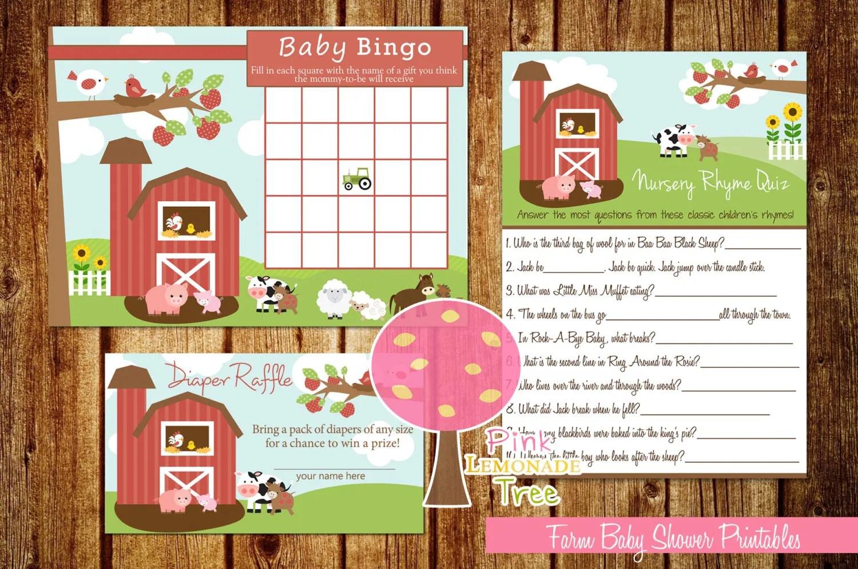 Farm Baby Shower Games Baby Bingo Nursery Rhymes Quiz