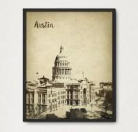 Austin Texas Watercolor Wall Art Print 2 Austin Skyline