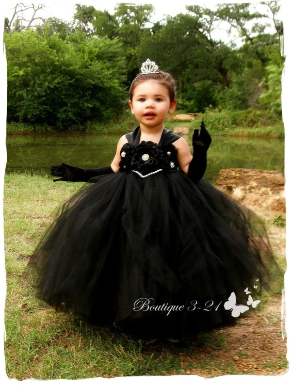 Black Flower Girl Dress Tutu