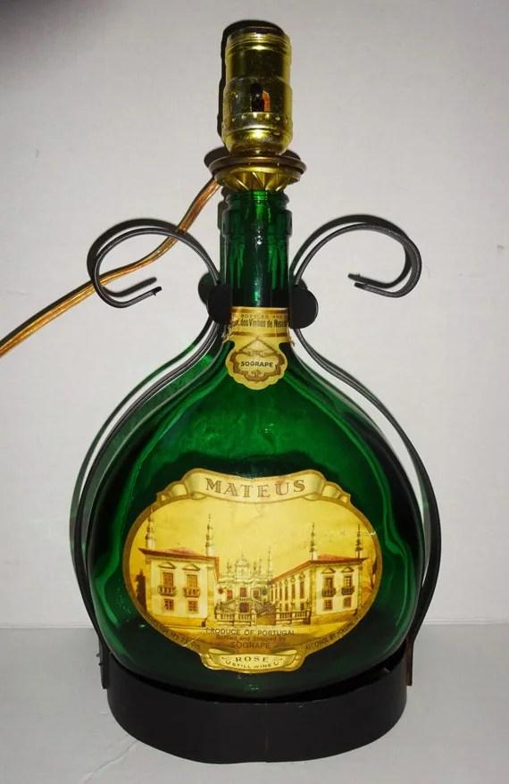 Vintage Mateus wine bottle lamp 1970s table light