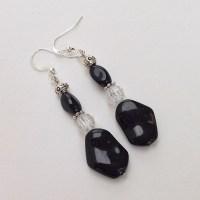 Beaded Earrings Black Beaded Dangle Earrings by EverydayWomen