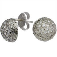 Classic Half Round Pave Diamond Ball Earrings by Dacarli