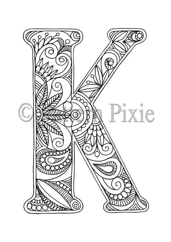 Adult Colouring Page Alphabet Letter K